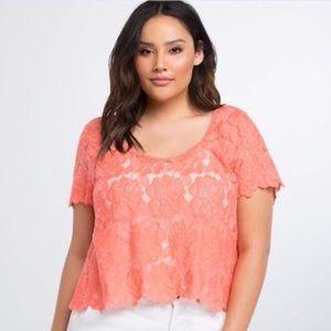 Torrid Lace Orange Crop Top Peach NWT Sz 12 14 0X